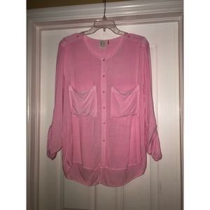 Pink Long Sleeve Blouse